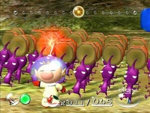Purple Pikmin and captain olimar Pikmin Nintendo Gamecube