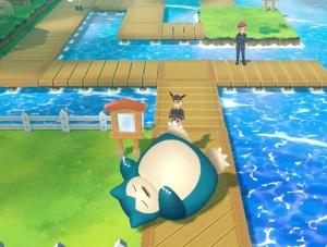 Snorlax sleeping blocking path Pokemon: Let's Go Eevee/Pikachu