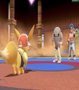 Bruno using hitmonlee Pokemon Let's Go Pikachu/Eevee Nintendo Switch