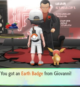 Getting Earth Badge from Giovanni Pokemon Let's Go Pikachu/Eevee Nintendo Switch