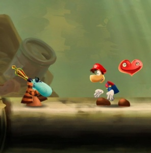 Rayman with Mario hat and overalls Rayman Legends Definitive Edition Nintendo Switch ubisoft