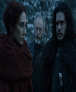 Davos and Jon Snow see red woman return game of Thrones HBO