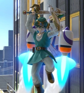 Hero flying with Rocket Belt Jetpack Super Smash Bros ultimate Nintendo Switch Pilotwings