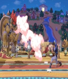 Bowser vs Richter Belmont Smashville Stage super Smash Bros ultimate Nintendo Switch animal crossing