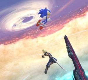 Sonic jumping over cloud strife super Smash Bros ultimate Nintendo Switch Sega