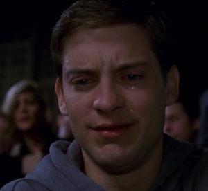 Peter Parker crying over uncle ben Spider-Man 1 Tobey Maguire
