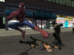 Fighting thugs Spider-man 2 video game Nintendo Gamecube Xbox PS2