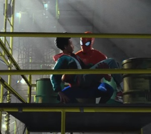 Peter Parker saves miles morales Spider-Man: Into the Spider-Verse