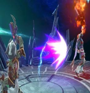 Wolf fires laser gun at roy super Smash Bros ultimate Nintendo Switch Starfox