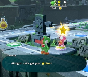 Toadette gives Yoshi a star Super Mario Party Nintendo Switch