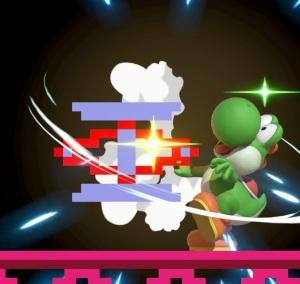Yoshi hit by spring 75m Donkey Kong stage super Smash Bros ultimate Nintendo Switch