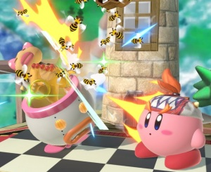 Kirby thowithrowing bees at Wendy Koopa Beehive super Smash Bros ultimate Nintendo Switch animal crossing
