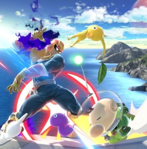 Captain Olimar throwing Pikmin at captain Falcon super Smash Bros ultimate Nintendo Switch Pikmin