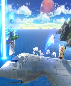 Palutena uses laser against Pikachu Libre Franklin Badge super Smash Bros ultimate Nintendo Switch earthbound