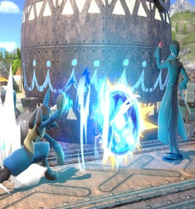 Lucario shoots energy ball at Joker super Smash Bros ultimate Nintendo Switch Pokémon