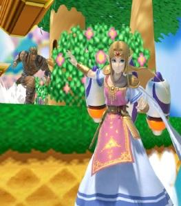 Princess Zelda hovering with Rocket Belt Jetpack Super Smash Bros ultimate Nintendo Switch Pilotwings