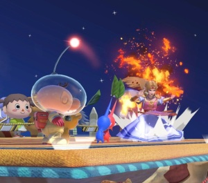 Captain Olimar vs princess Zelda Smashville Stage super Smash Bros ultimate Nintendo Switch animal crossing