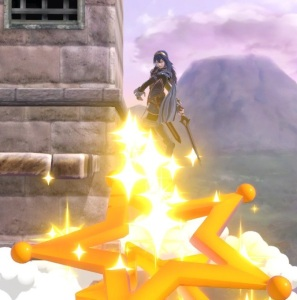 Lucina falls inside Super Launch Star super Smash Bros ultimate Nintendo Switch