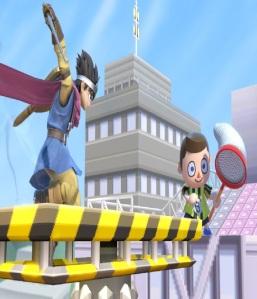 Villager using bug net on hero super Smash Bros ultimate Nintendo Switch animal crossing