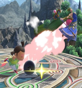 Villager hits palutena with bowling ball super Smash Bros ultimate Nintendo Switch animal crossing