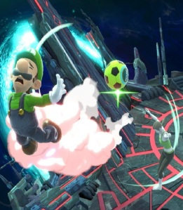Wii Fit trainer kivkicks soccer ball at Luigi super Smash Bros ultimate Nintendo Switch