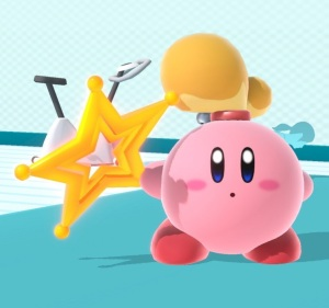 Kirby holding Super Launch Star super Smash Bros ultimate Nintendo Switch