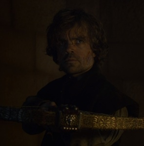 Tyrion Lannister holding crossbow game of Thrones