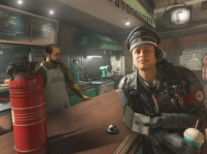 Nazi officer in American diner Wolfenstein II: The New Colossus Nintendo Switch Xbox One PS4
