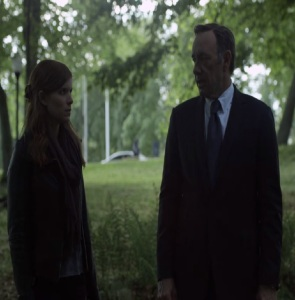 Zoe Barnes questions Francis Underwood about Peter Russo death house of Cards Netflix Kate Mara