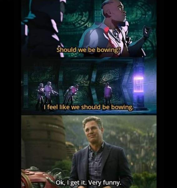 Memes hulk Bruce Banner bowing to black Panther