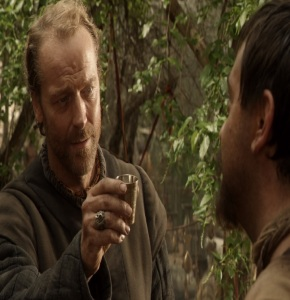 Jorah Mormont holding poisoned wine Game of Thrones HBO