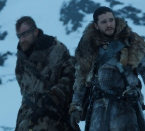 Beric Dondarrion and Jon Snow hunting zombies game of Thrones HBO
