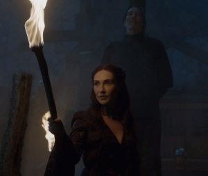 Melisandre tries to burn mance Rayder game of Thrones HBO