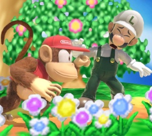 Diddy Kong punching Luigi super Smash Bros ultimate Nintendo Switch