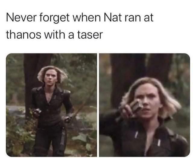 Memes black widow using taser against Thanos