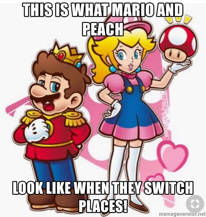 Memes Mario and peach role reversal