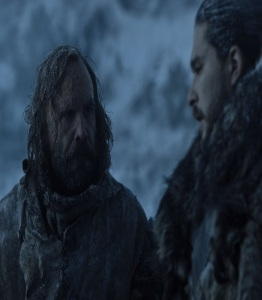 The hound and jon snow north of the Wall game of Thrones HBO