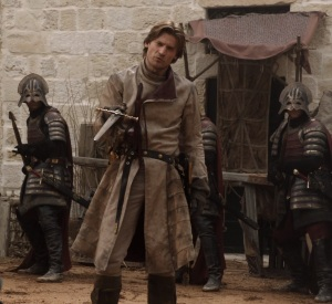 Jaime Lannister sword duel with Ned Stark game of Thrones HBO