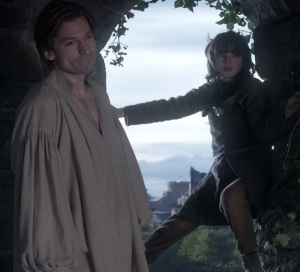 Jaime Lannister pushes bran stark out of window game of Thrones HBO