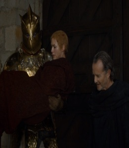 Qyburn protects queen cersei Game of Thrones HBO
