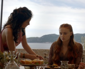 Sansa Stark being rude to Shae game of Thrones HBO