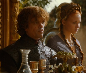 Sansa Stark and Tyrion Lannister purple wedding game of Thrones HBO
