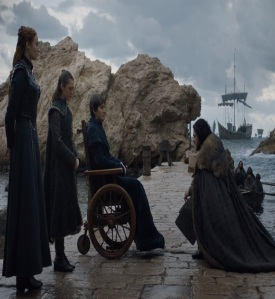 Jon Snow kneeling to King Brandon stark game of Thrones HBO