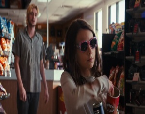 Laura at the gas station Logan 2017 movie