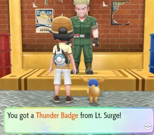 Lt. Surge gives you the Thunder Badge Pokemon Let's Go Pikachu/Eevee Nintendo Switch