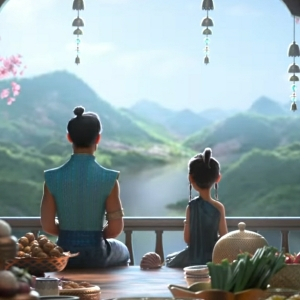 Raya and her father meditating raya and the Last Dragon disney