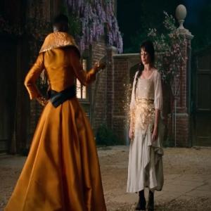 Fabulous Godmother gives Cinderella a new dress Cinderella 2021 movie Billy Porter