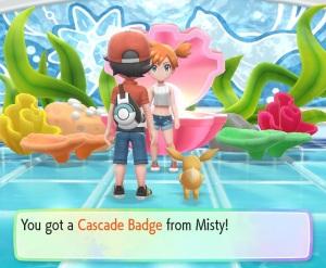 Getting Cascade Badge from misty Pokemon Let's Go Pikachu/Eevee Nintendo Switch