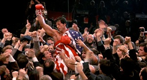 Rocky Balboa wrapped in the American flag Rocky IV
