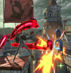 Bayonetta vs toon link Castle Siege Stage super Smash Bros ultimate Nintendo Switch fire Emblem